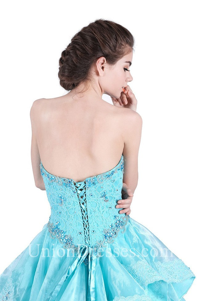 Ball Gown Sweetheart Aqua Tulle Lace Ruffle Corset Prom Dress