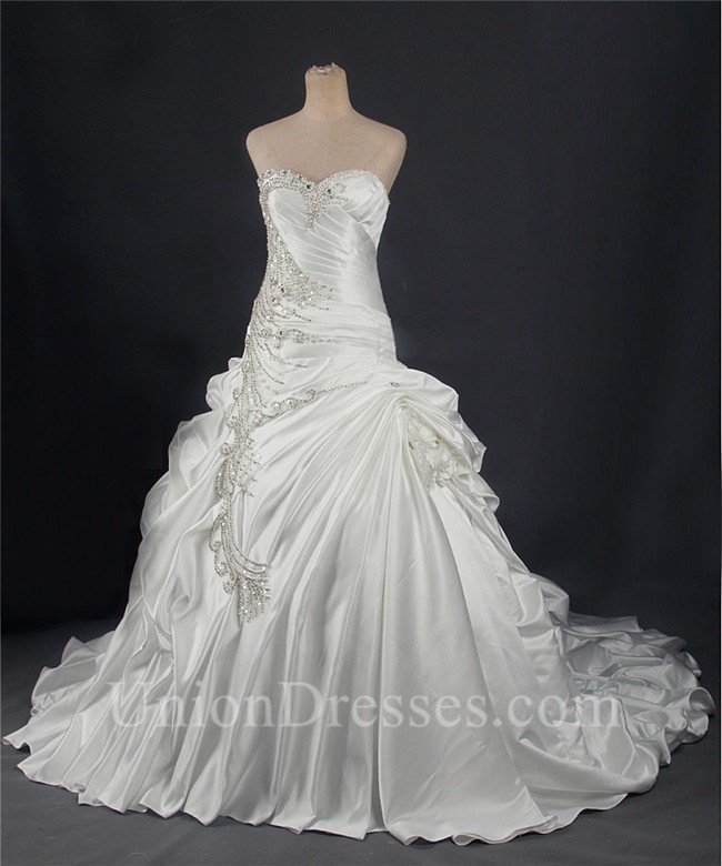 Ball Gown Sweetheart Corset Back Draped Satin Wedding Dress With ...