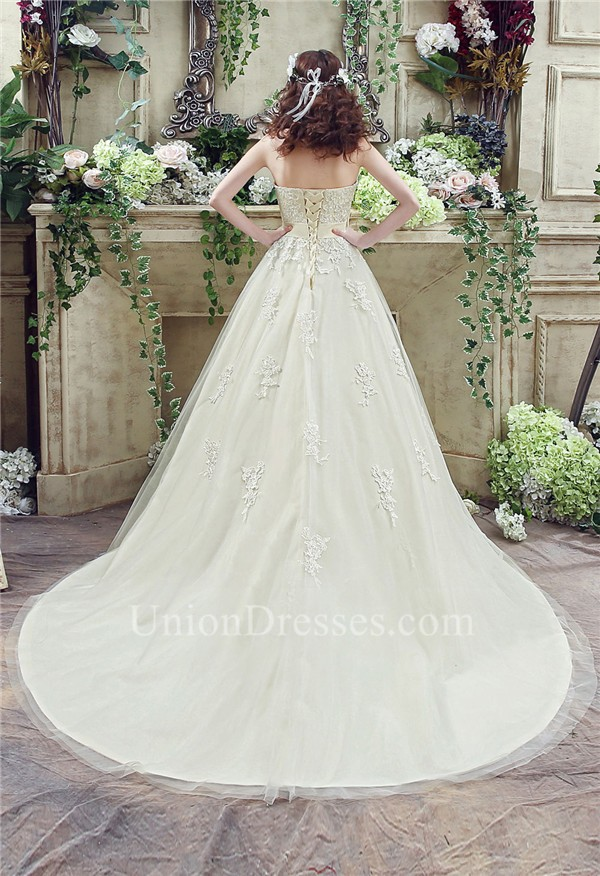 Ball Gown Sweetheart Cream Colored Satin Lace Wedding Dress With Bow ...