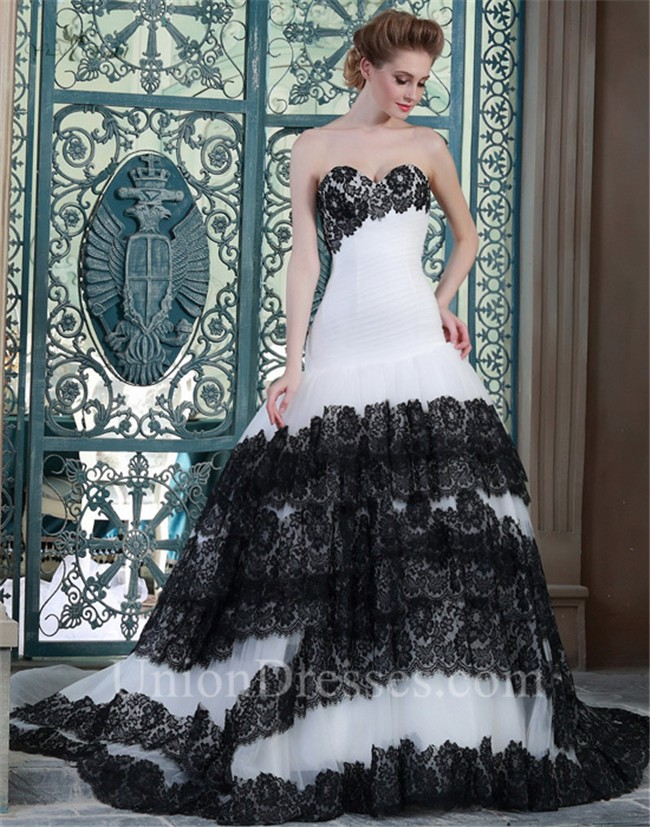 Ball Gown Sweetheart Drop Waist White Tulle Black Lace Tiered ...