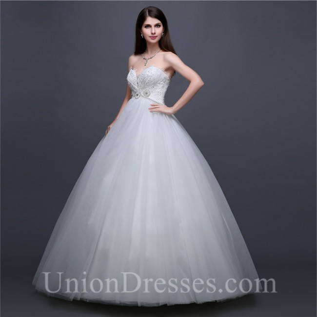 Ball Gown Sweetheart Empire Waist Tulle Lace Beaded Wedding Dress ...