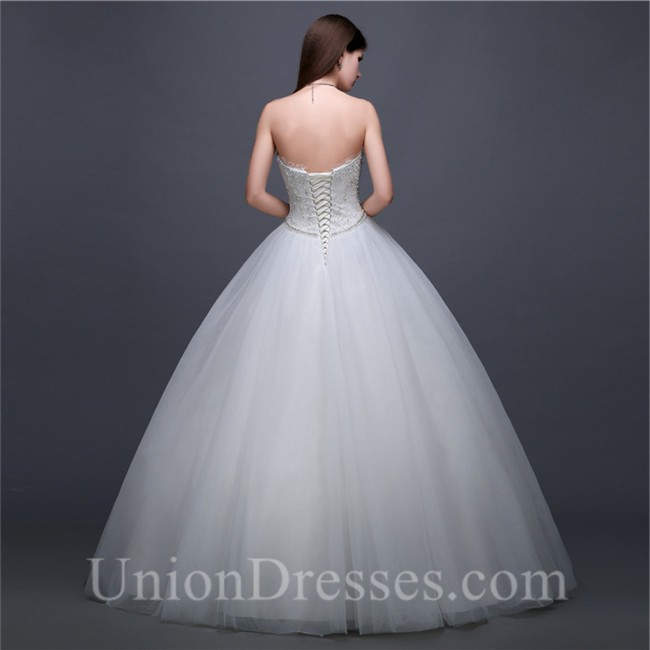Ball Gown Sweetheart Empire Waist Tulle Lace Beaded