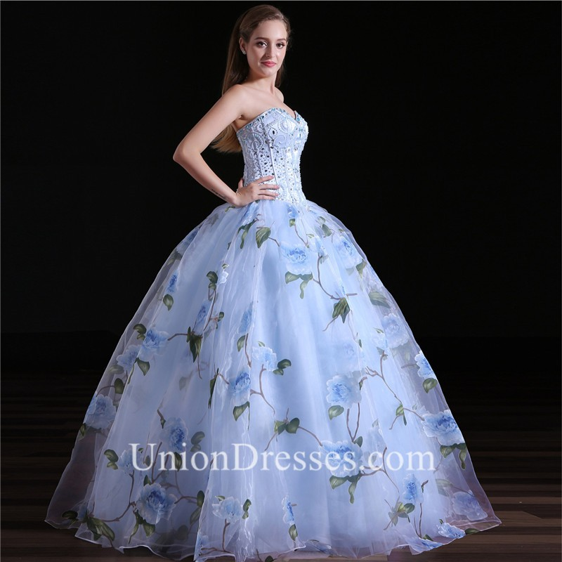 75d1a6e96b Ball Gown Sweetheart Floral Printed Organza Prom Dress Corset Back lightbox  moreview · lightbox moreview