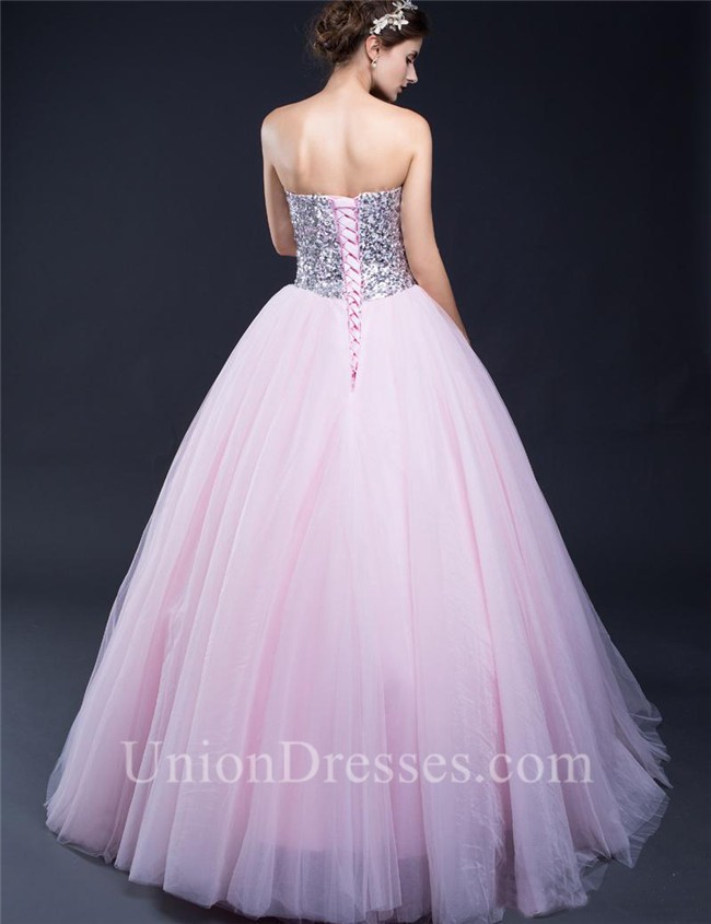 Ball Gown Sweetheart Light Pink Tulle Sequin Beaded Prom Dress ...