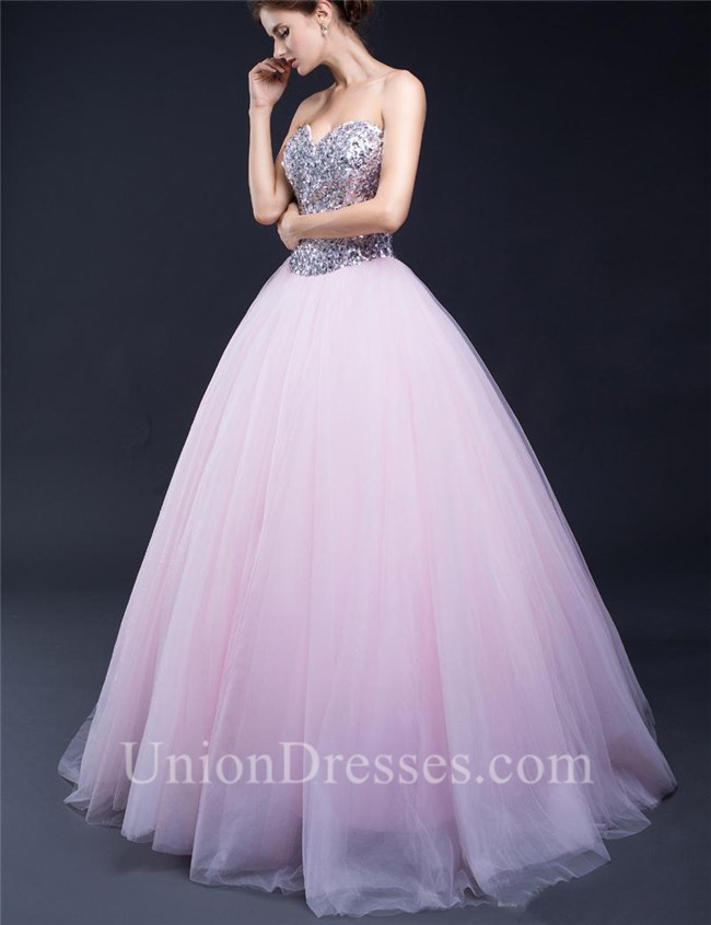 e4f93f7e8536 Ball Gown Sweetheart Light Pink Tulle Sequin Beaded Prom Dress Corset Back  lightbox moreview · lightbox moreview · lightbox moreview · lightbox  moreview