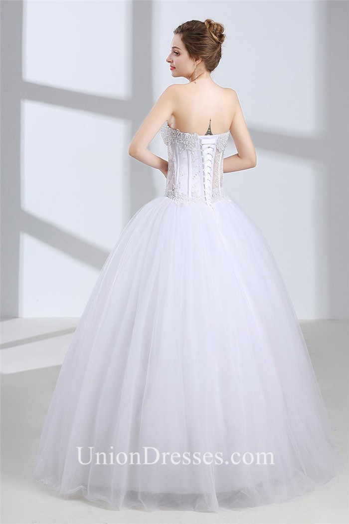 Ball Gown Sweetheart See Through Tulle Beaded Floor Length Wedding ...