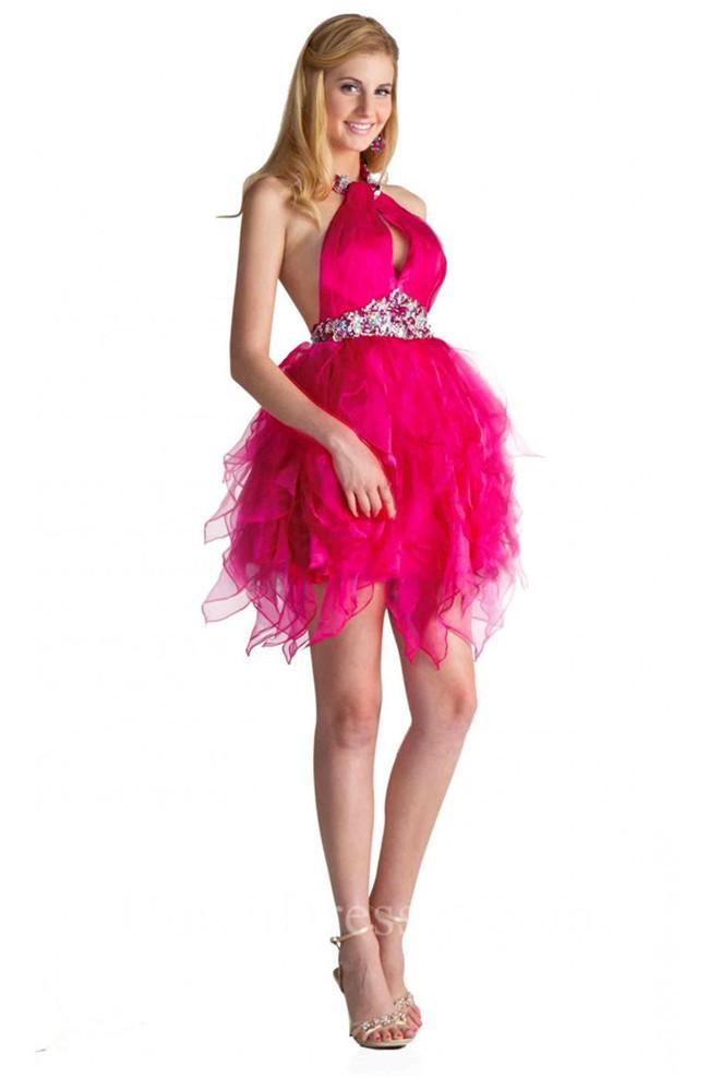 Ball Halter Backless Short Hot Pink Organza Ruffle Cocktail Prom Dress