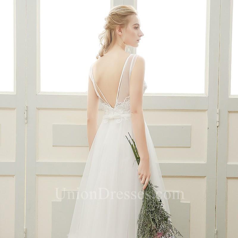 6f0dd6cd8e Bateau Neckline Low V Back Sleeveless Lace Tulle Outdoor Boho Wedding Dress  lightbox moreview · lightbox moreview · lightbox moreview
