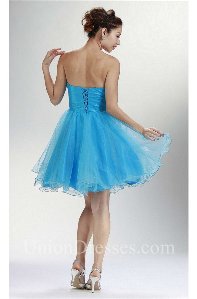 e09435a3e0d Beautiful Ball Strapless Short Sky Blue Tulle Beaded Cocktail Prom Dress  lightbox moreview