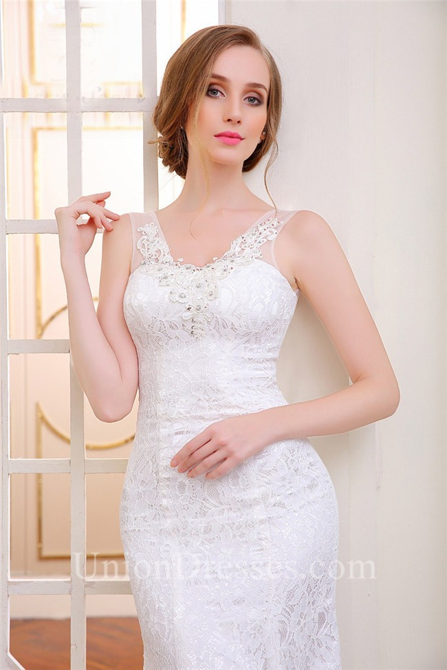 Charming Mermaid Vintage Lace Corset Wedding Dress With Sheer Straps