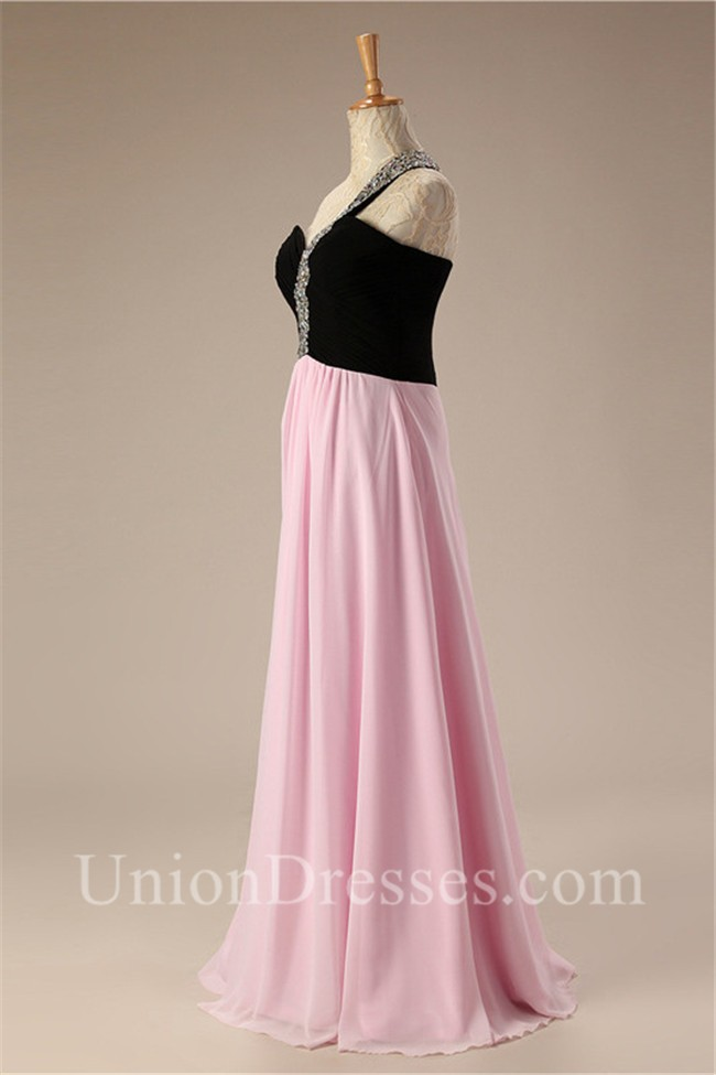 Charming One Shoulder Black And Pink Two Tone Chiffon Prom Dress