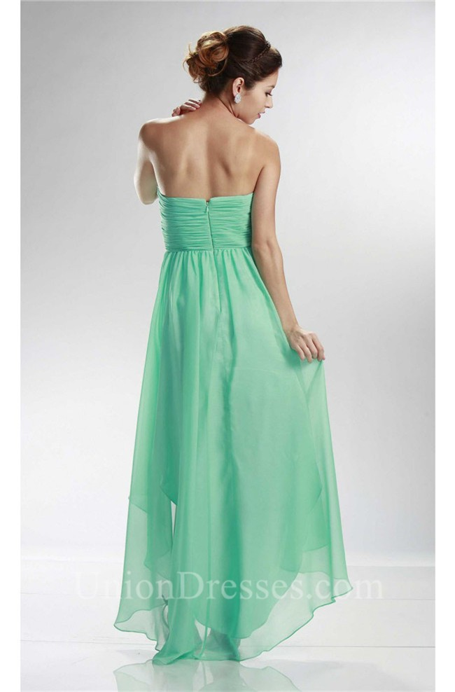 charming sweetheart high low mint green chiffon prom dress