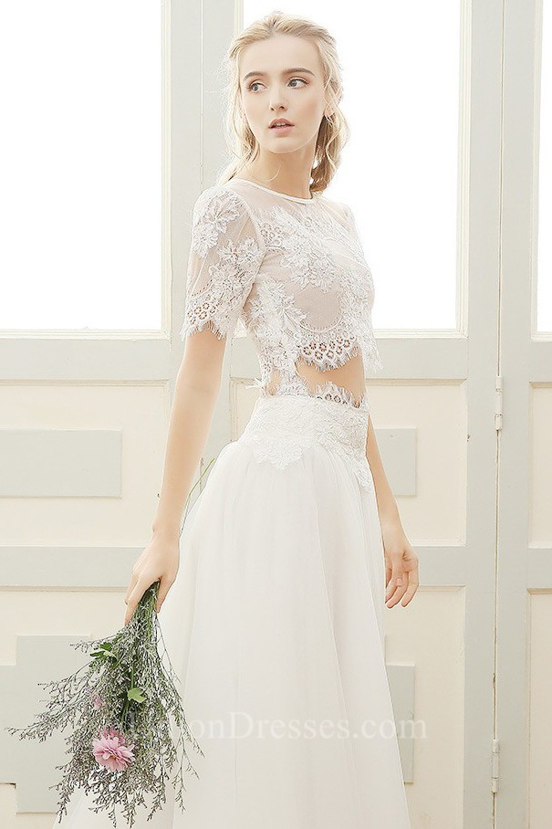 Chic A Line Short Sleeve Vintage Lace Tulle Two Piece Wedding Dress
