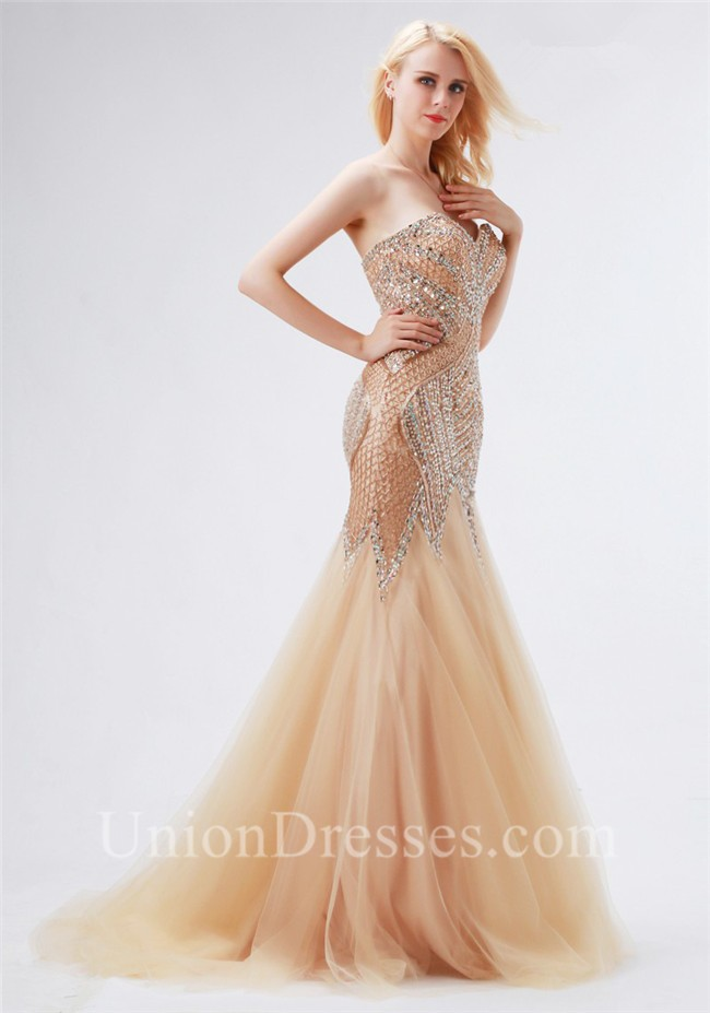 Chic Trumpet Mermaid Sweetheart Champagne Tulle Beaded Prom Dress