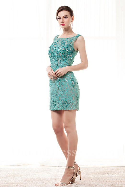 Column Bateau Neckline V Back Mini Jade Lace Beaded Party Prom Dress