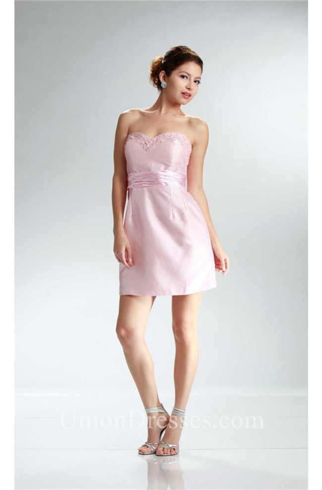 Column Sweetheart Short Light Pink Taffeta Party Dress With Sash
