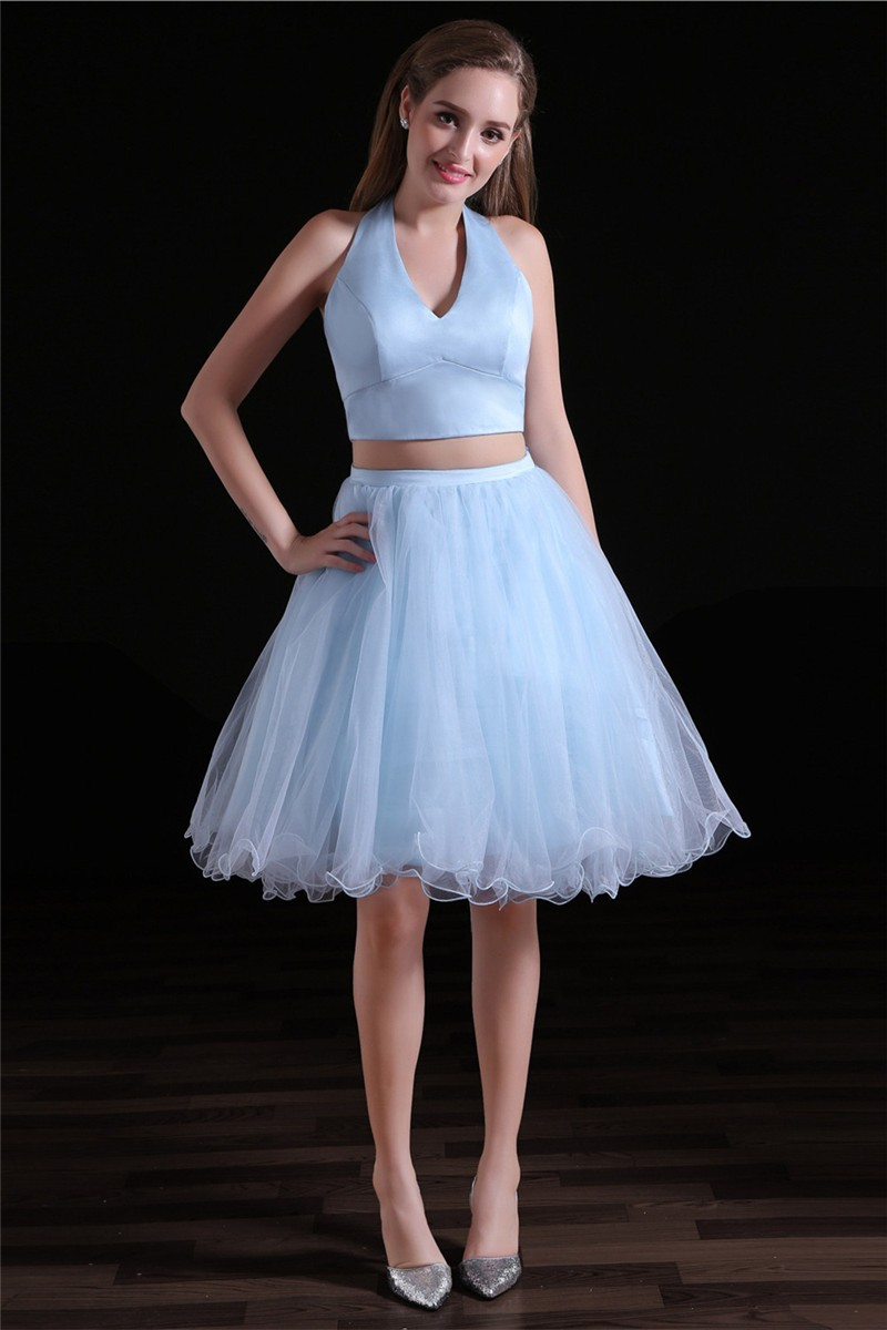 Cute Halter Two Piece Light Blue Tulle Short Prom Dress