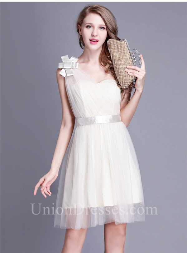 Cute One Shoulder Short Champagne Tulle Party Bridesmaid Dress With Sash