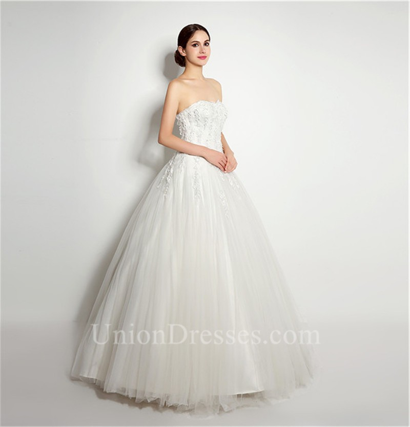 elegant ball gown strapless tulle lace applique wedding