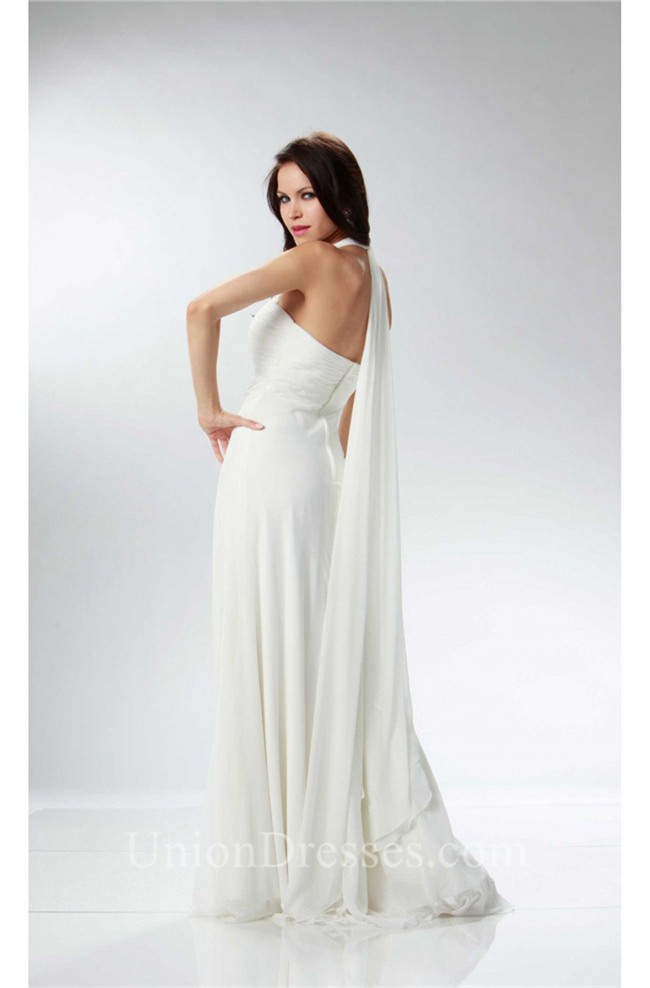 Elegant Halter Empire Waist Ivory Chiffon Ruched Beach Wedding Dress