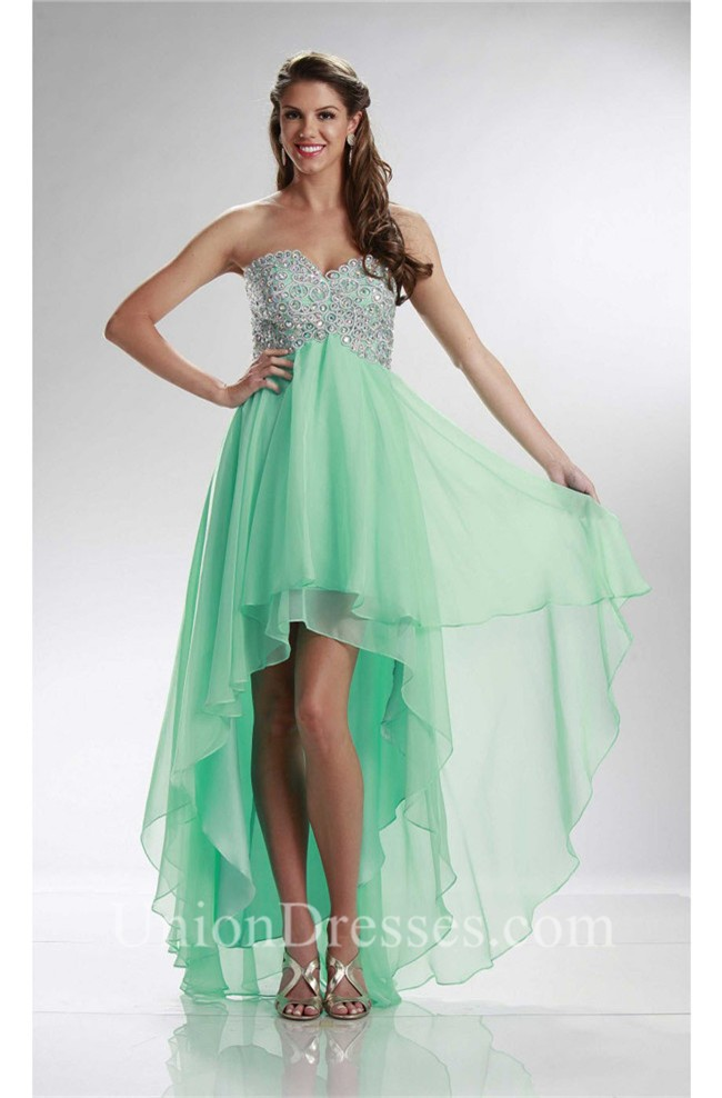 elegant high low sweetheart mint green chiffon beaded prom