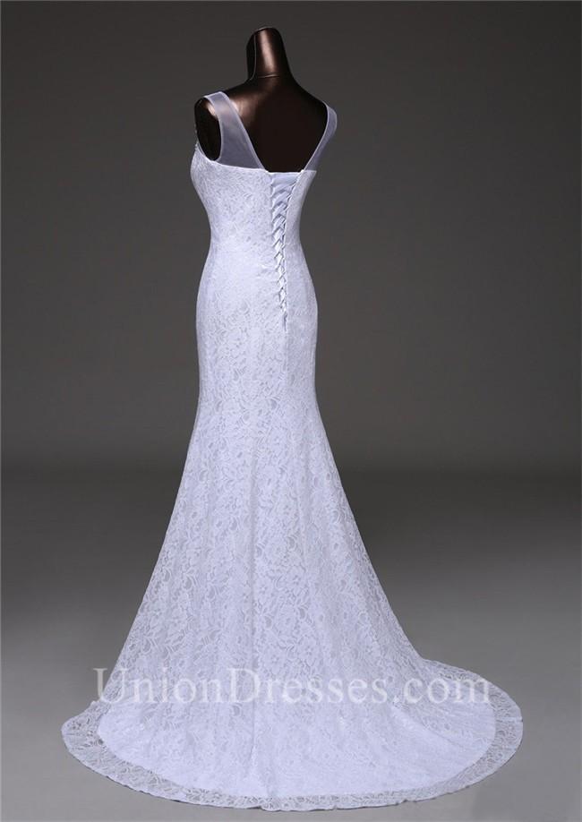 Elegant Mermaid Illusion Neckline Corset Lace Wedding Dress With ...