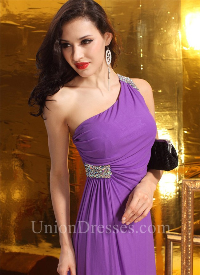 Purple Jersey Prom Dress