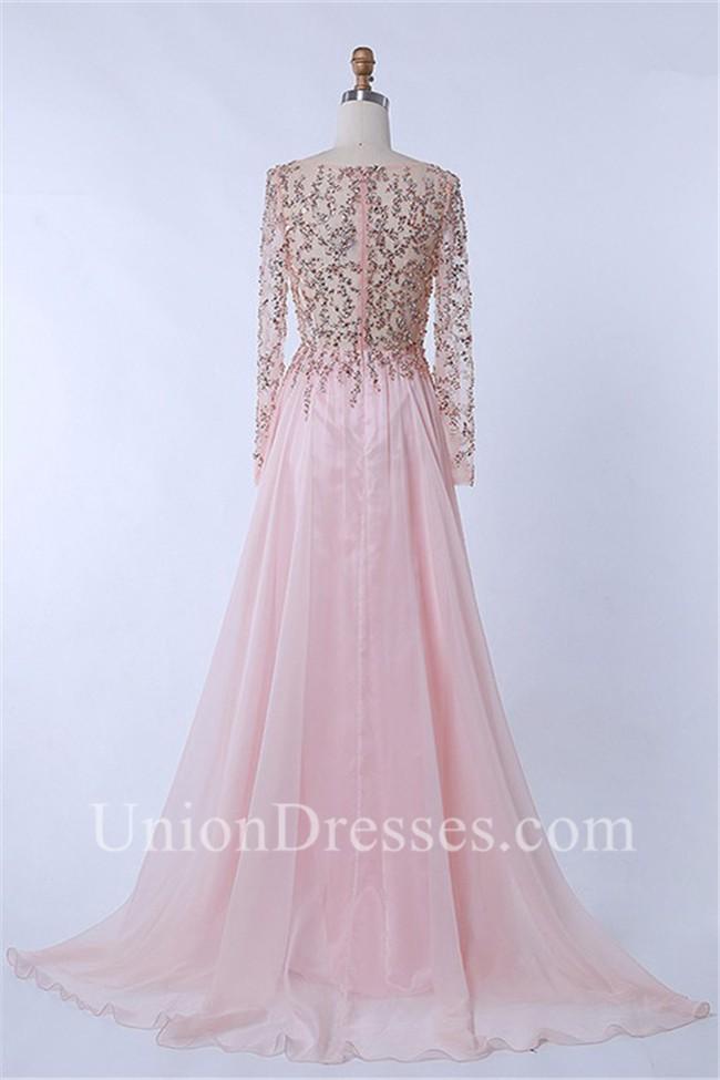 Elegant Sheer Long Sleeve Light Pink Chiffon Tulle Beaded Prom Dress