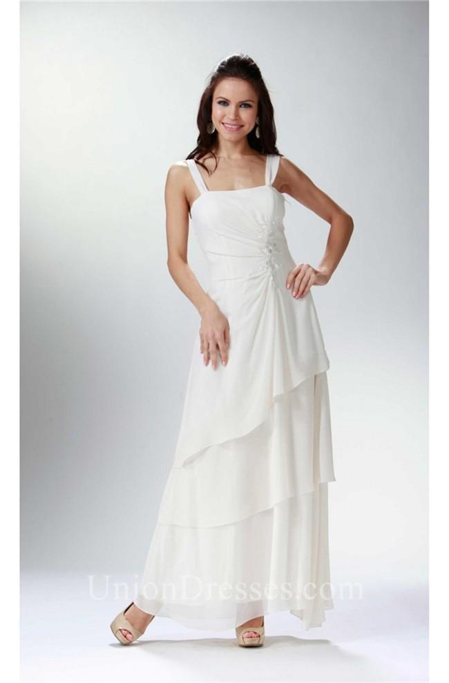 Elegant Strap Ivory Chiffon Tiered Mother Evening Dress Bolero Jacket