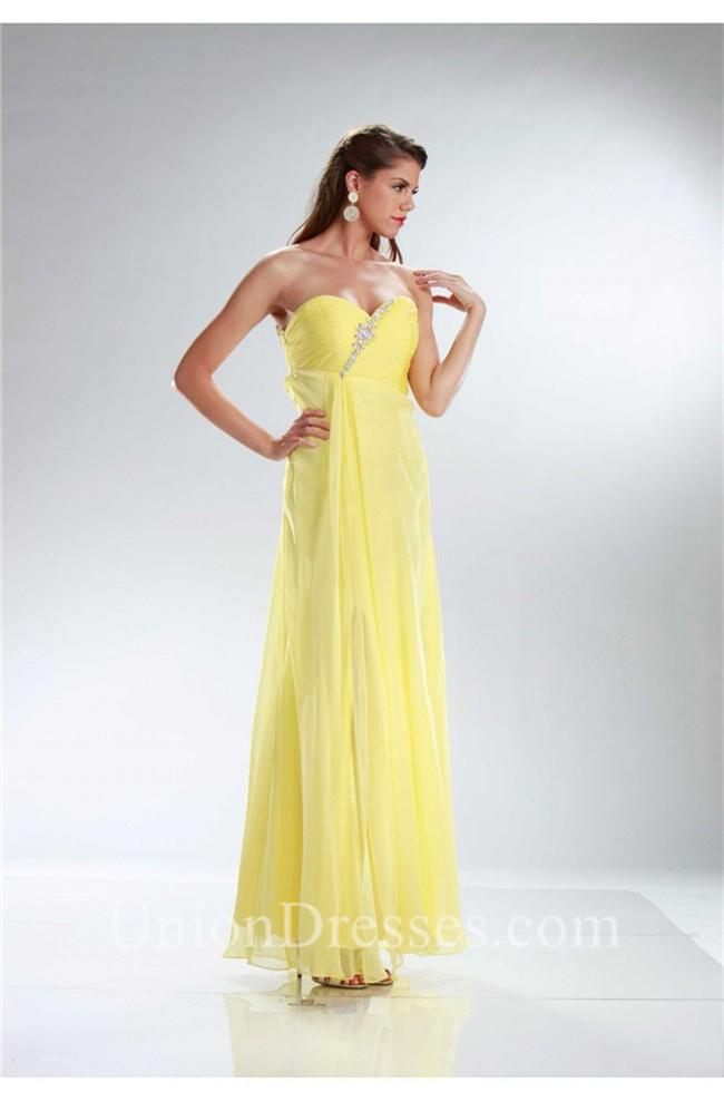 Elegant Strapless Empire Waist Long Yellow Chiffon Prom Dress Cut ...