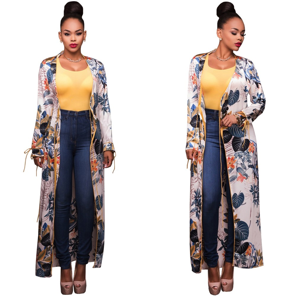 dcde57be1 Elegant Summer Beach Long Sleeve Women Floral Chiffon Kimono ...