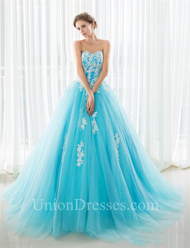 77a81214228d Fairy Ball Gown Strapless Turquoise Tulle Lace Beaded Prom Dress Lace Up  Back lightbox moreview · lightbox moreview · lightbox moreview · lightbox  moreview