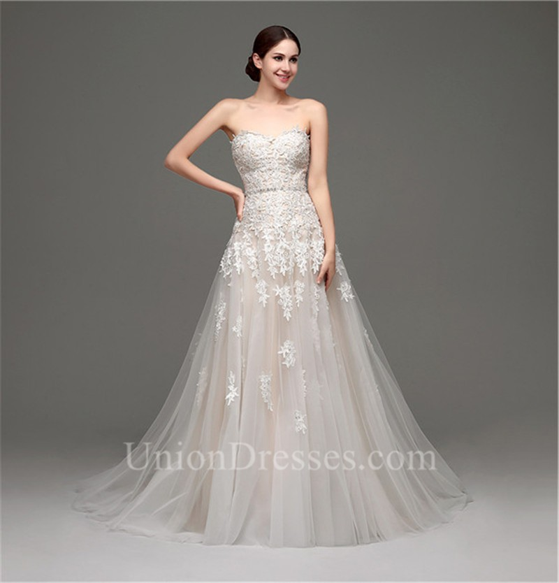 Fantastic A Line Strapless Champagne Satin Tulle Lace Wedding Dress ...