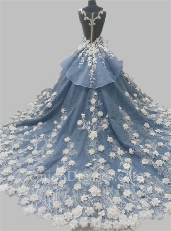 ... Dusty Blue Organza Lace Applique Peplum Wedding Dress Lightbox Moreview  · Lightbox Moreview