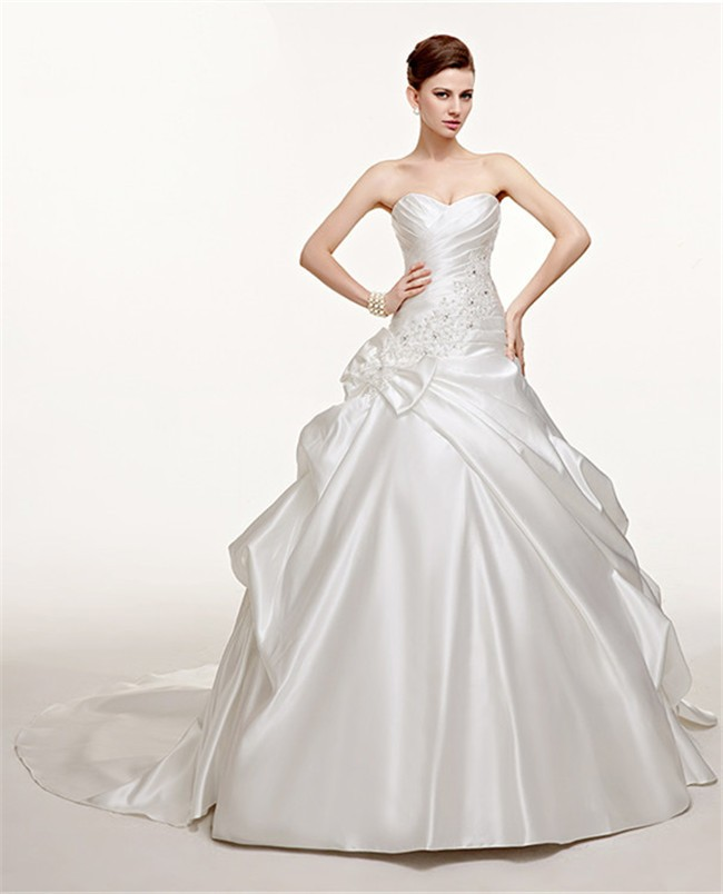 Ruching Wedding Gowns: Fantastic Ball Gown Sweetheart Ruched Satin Pick Up Skirt