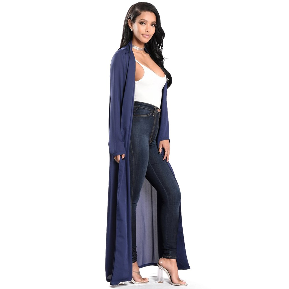 579fb174e Fashion Beach Long Sleeve Navy Blue Chiffon Women Kimono Jacket
