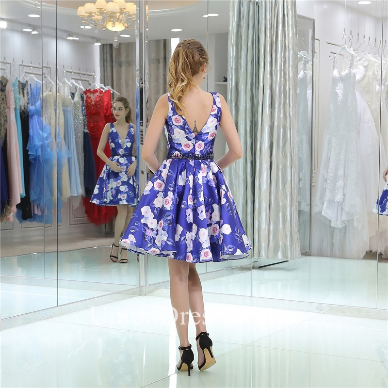 fabd7a3646 Fashion Deep V Neck Short Floral Printed Party Prom Dress lightbox moreview  · lightbox moreview · lightbox moreview