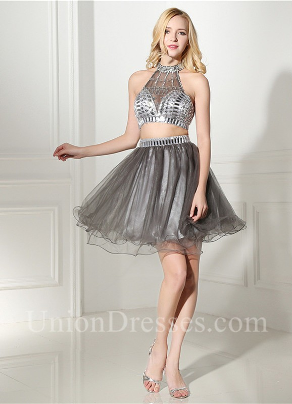 Fashion Halter Two Piece Light Grey Tulle Beaded Short Prom Dress