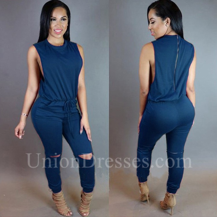 e6639057dd35 Fashion High Neck Sleeveless Cutout Rompers Women Jumpsuit