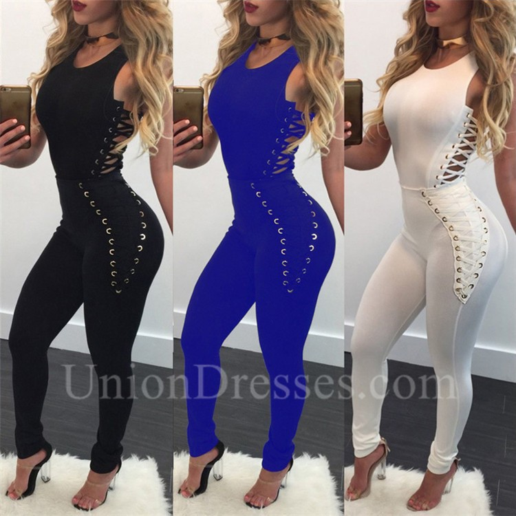 f87f597e6c1d Fashion Sleeveless Hollow Out Bodycon Rompers Women Jumpsuit With Lace Up