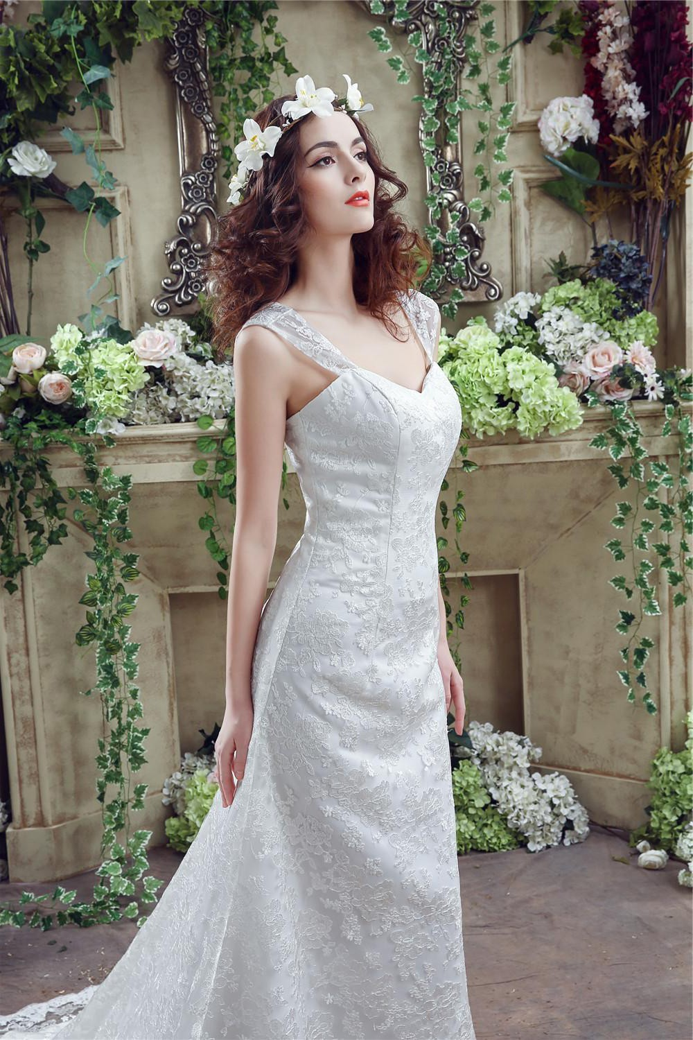 Fitted a line sweetheart corset back lace wedding dress for Sweetheart wedding dress with straps
