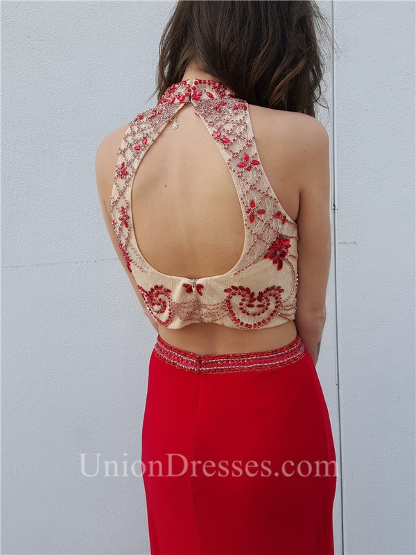 6d421ec7f93 Fitted High Neck Open Back Two Piece Red Jersey Beaded Prom Dress lightbox  moreview · lightbox moreview · lightbox moreview · lightbox moreview