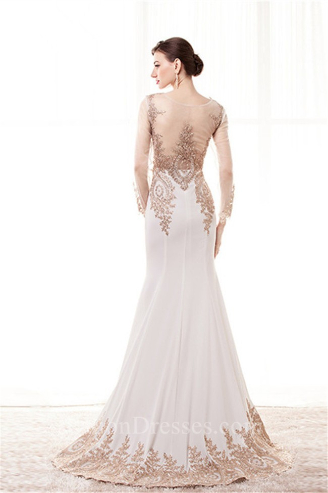 a8fd4938df6c Fitted Scoop Neck White Satin Gold Lace See Through Prom Dress With Sleeves  lightbox moreview · lightbox moreview · lightbox moreview