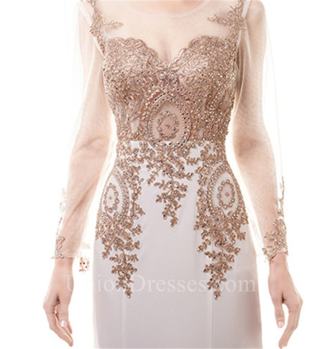 957122b4e8e3 Fitted Scoop Neck White Satin Gold Lace See Through Prom Dress With ...