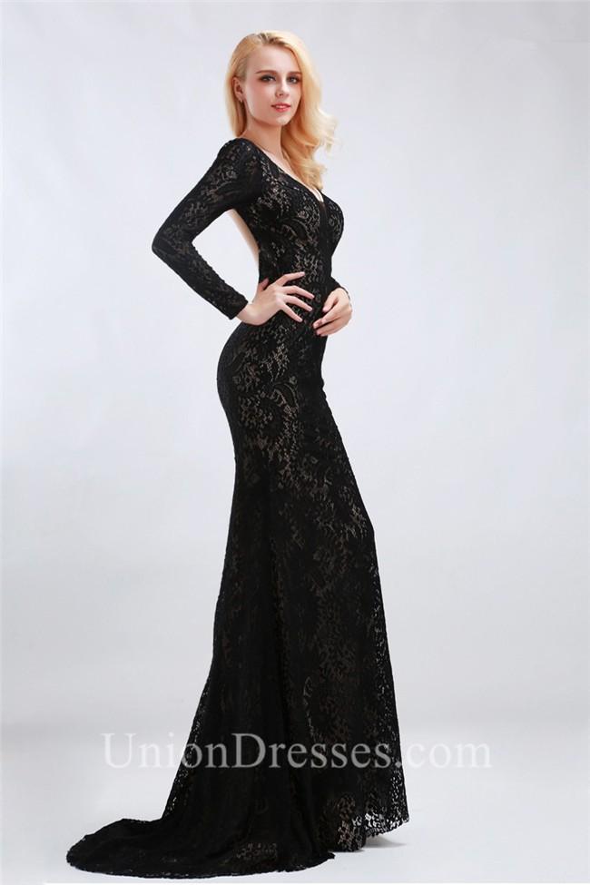 Fitted V Neck Open Back Long Sleeve Black Lace Formal