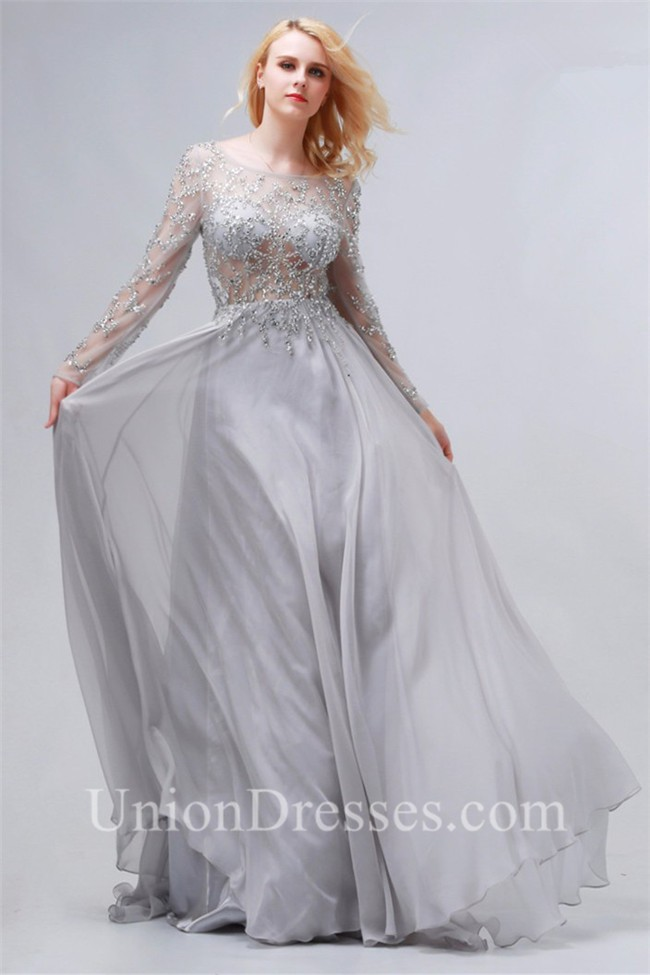 644951c320 lightbox moreview · Flowing Bateau Backless Long Sleeve Silver Chiffon  Tulle Beaded Prom Dress