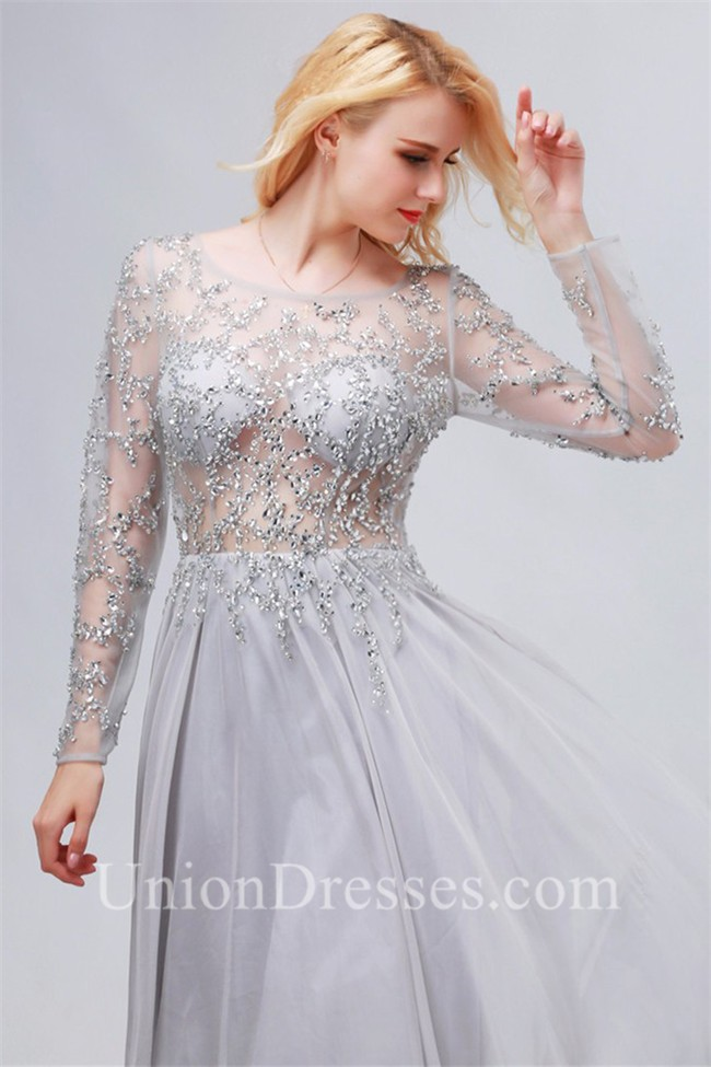 c7bdb686ec Flowing Bateau Backless Long Sleeve Silver Chiffon Tulle Beaded Prom Dress  lightbox moreview