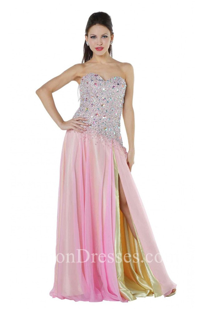 2ee39702a221 Flowy Strapless Side Slit Long Pink And Yellow Chiffon Beaded Prom Dress  lightbox moreview