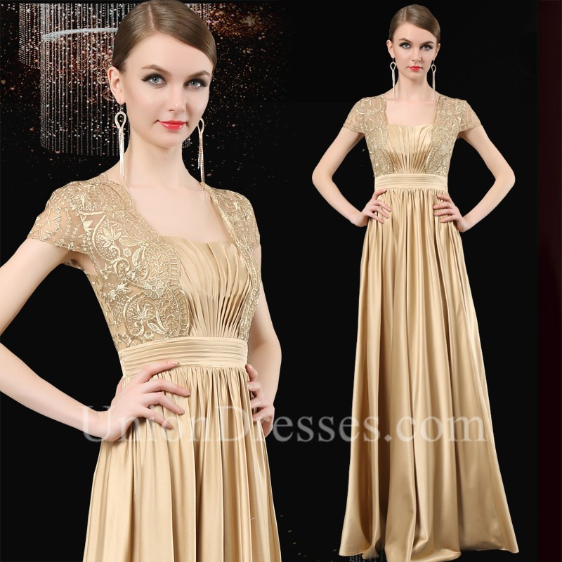 630a59ed1d2e Formal Sequare Neck Cap Sleeve Long Gold Satin Lace Mother Of The Bride  Evening Dress lightbox moreview · lightbox moreview · lightbox moreview