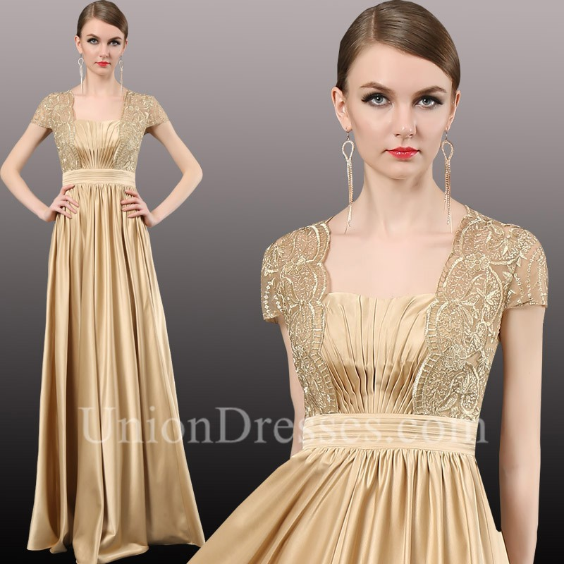 582dd253229f Formal Sequare Neck Cap Sleeve Long Gold Satin Lace Mother Of The Bride  Evening Dress lightbox moreview · lightbox moreview · lightbox moreview ·  lightbox ...